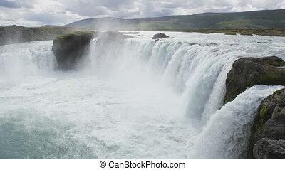 islande, beau, -, destination, godafoss, idyllique, célèbre, touriste, chute eau