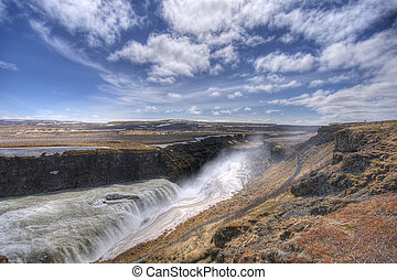islande, chute eau