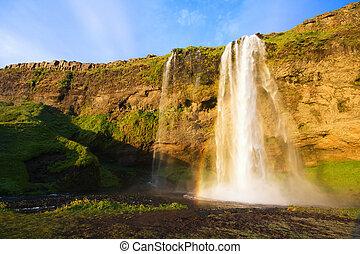 islande, chute eau, coucher soleil, seljalandfoss