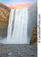 islande, chute eau, coucher soleil, skogafoss