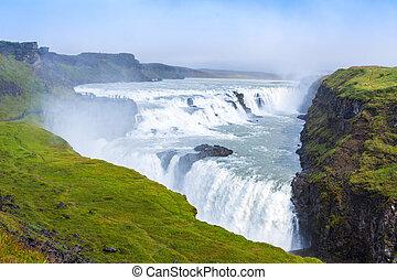 islande, chute eau, gulfoss