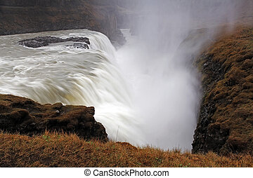 islande, chute eau, gullfoss