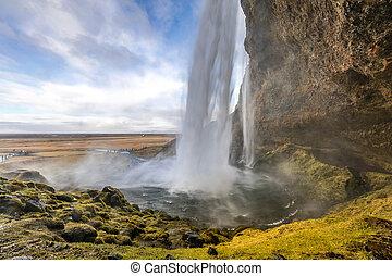 islande, chute eau, seljalandsfoss
