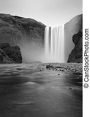 islande, chute eau, -, skogafoss