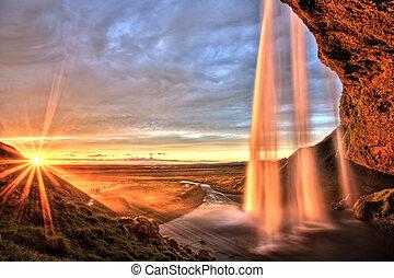islande, coucher soleil, chute eau, seljalandfoss