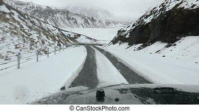 islande, neigeux, conduite, route montagne