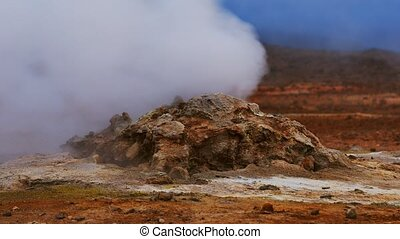 islande nord, chaud, soufre, europe., ressorts