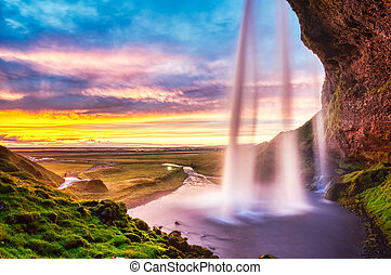 islande, seljalandsfoss, coucher soleil, chute eau