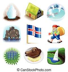 islande, vecteur, ensemble, icônes