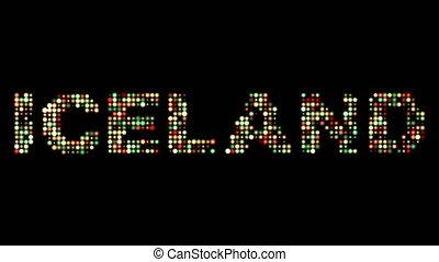 islandia, poprowadzony, barwny, tekst