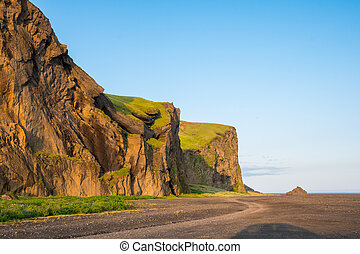 islandia sur, hjorleifshofdi, histórico, promontorio