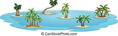Illustration of a set of many islands