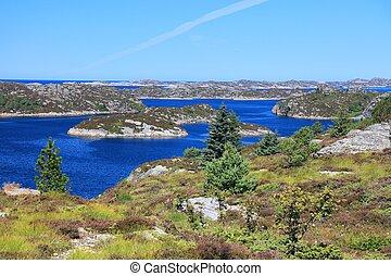 Norway islands landscape view. Vestland county island landscape with Sotra island in Oygarden municipality.