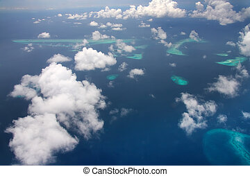 Islands in the ocean. Aerial view.