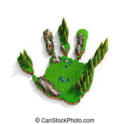 Islands in the shape of a hand. Concept concept of how human activity affects nature. 3d illustration