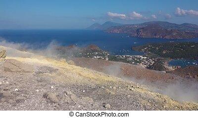 islands., island., bleu, fosse, cuire vapeur, cratère ...