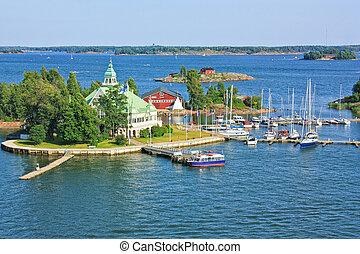Islands in the Baltic Sea near Helsinki in Finland