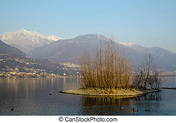 Islands on an alpine lake