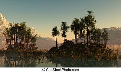 Islands with trees at mountain lake