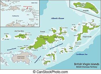 islas de virgen, británico, mapa