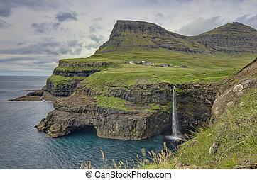 islas, faroe, colinas verdes, escarpado