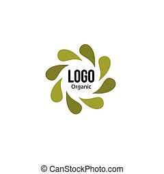 Islated abstract green color spining leaves circle logo. Flower petals logotype. Natural recycling icon. Circulation sign. Healing herbs emblem. Organic cosmetic symbol. Vector leaves illustration.