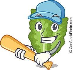 islated, baseball, verde, mustrad, gioco, mascotte