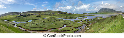 Isle of Harris panorama of saltings