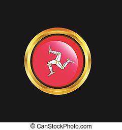 Isle of Man flag Golden button