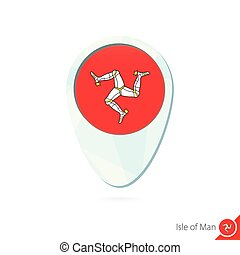 Isle of Man flag location map pin icon on white background.