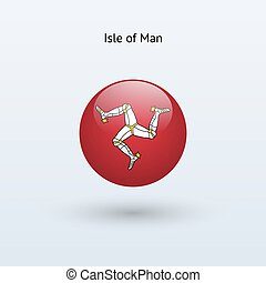 Isle of Man round flag. Vector illustration.