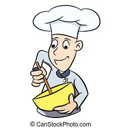 islolated, - , εικόνα , αρχιμάγειρας , μικροβιοφορέας , γελοιογραφία