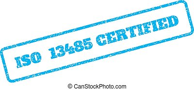 Blue rubber seal stamp with ISO 13485 Certified text. Vector caption inside rounded rectangular banner. Grunge design and scratched texture for watermark labels. Inclined emblem on a white background.