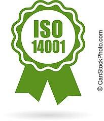 iso, 14001, 証明される, 緑, アイコン