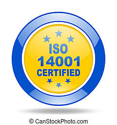 iso 14001 blue and yellow web glossy round icon