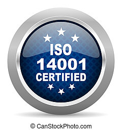 iso 14001 blue circle glossy web icon on white background, round button for internet and mobile app