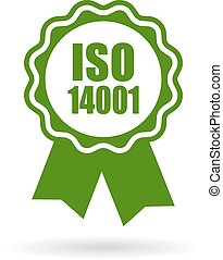 Iso 14001 certified green icon isolated on white background