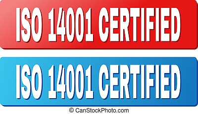 ISO 14001 CERTIFIED Text on Blue and Red Rectangle Buttons