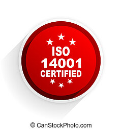 iso 14001 flat icon with shadow on white background, red modern design web element