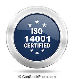 iso 14001 icon, dark blue round metallic internet button, web and mobile app illustration