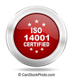 iso 14001 icon, red round glossy metallic button, web and mobile app design illustration