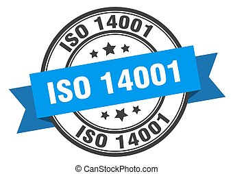 iso 14001 label sign. round stamp. ribbon. band