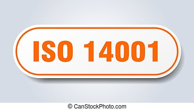 iso 14001 sign. rounded isolated sticker. white button