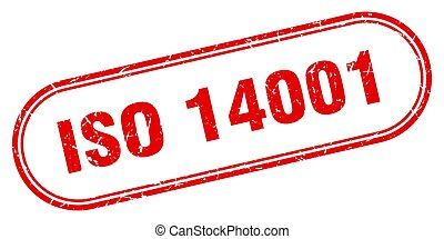 iso 14001 stamp. rounded grunge sign on white background