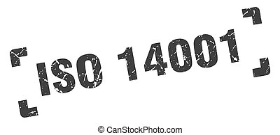 iso 14001 stamp. square grunge sign on white background