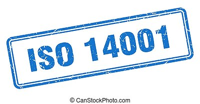 iso 14001 stamp. square grunge sign isolated on white background