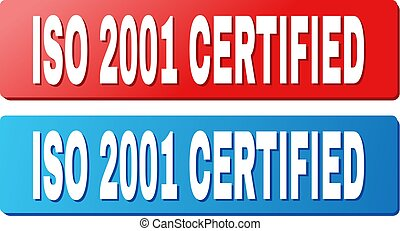 ISO 2001 CERTIFIED Caption on Blue and Red Rectangle Buttons