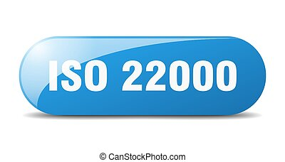 iso 22000 button. rounded glass sign. sticker. banner