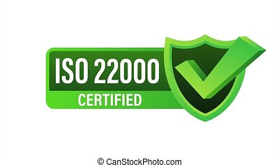 ISO 22000 Certified badge, icon. Certification stamp. Flat design