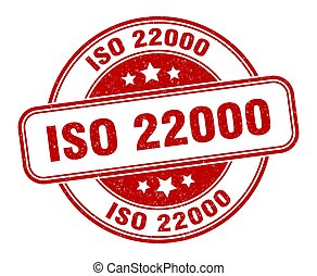 iso 22000 stamp. iso 22000 sign. round grunge label